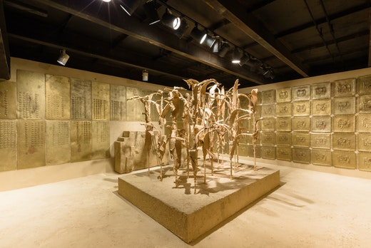 RANSOM ROOM: (Stage I: Golden Maize and Golden Panels, after the image of a mythic palace in Cuzco), 2014 SculptureCenter, Installation view 17 x 22 x 10 feet