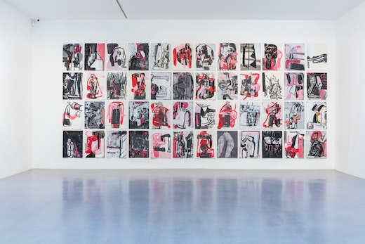 """Amy Sillman """"Pink Drawings,"""" 2015-16 Acrylic, charcoal, and ink on paper 76 x 57 cm each"""