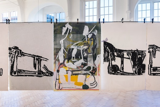 """Amy Sillman """"Dub Stamp,"""" 2018 a multi-part series of double-sided acrylic, ink, and silkscreen works on paper 152.5 × 101.5 cm each"""