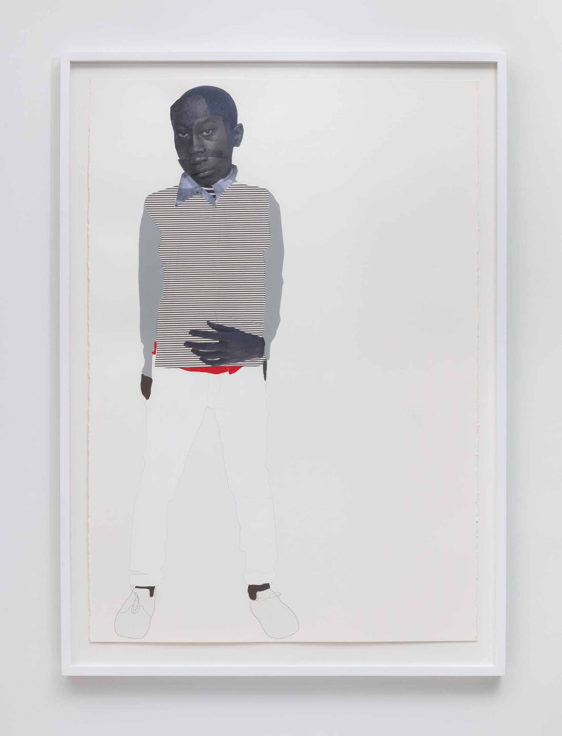 """Deborah Roberts """"Stinney (Nessun Dorma Series),"""" 2019 Mixed media collage on paper 60 x 40"""" [HxW] (152.4 x 101.6 cm) paper size, 67 x 48 x 2.25"""" [HxWxD] (170.18 x 121.92 x 5.71 cm) framed Inventory #ROB416 Courtesy of the artist and Vielmetter Los Angeles Photo credit: Robert Wedemeyer"""