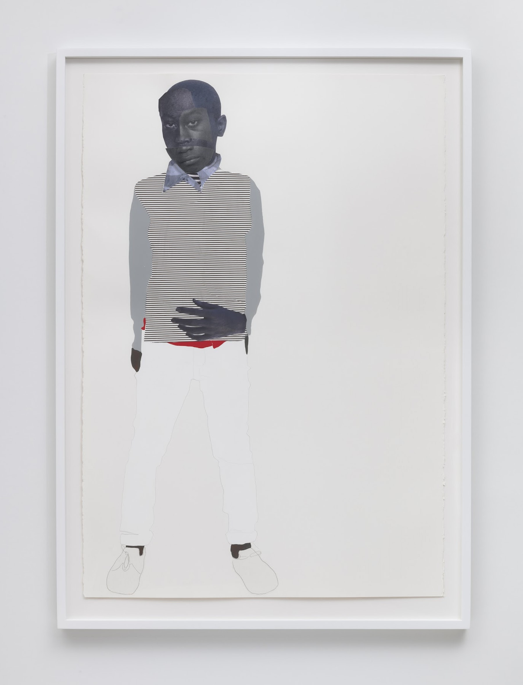 "Deborah Roberts ""Stinney (Nessun Dorma Series),"" 2019 Mixed media collage on paper 60 x 40"" [HxW] (152.4 x 101.6 cm) paper size, 67 x 48 x 2.25"" [HxWxD] (170.18 x 121.92 x 5.71 cm) framed Inventory #ROB416 Courtesy of the artist and Vielmetter Los Angeles Photo credit: Robert Wedemeyer"