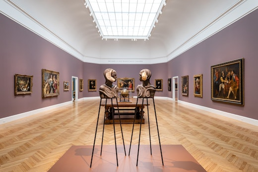 """Installation view from """"Wangechi Mutu: I Am Speaking, Are You Listening"""" at the Legion of Honor Museum in San Francisco."""