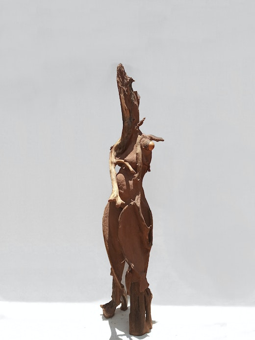 This is an artwork titled Sentinel I by artist Wangechi Mutu made in 2018