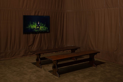 """Rodney McMillian Installation view """"Rodney McMillian, Brown: videos from The Black Show"""" at The Underground Museum"""