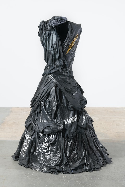 """Liz Glynn """"Unfinished Business,"""" 2019 Tee shirts with resin and steel armature 42 x 42 x 68"""" [HxWxD] (106.68 x 106.68 x 172.72 cm) overall dimensions"""
