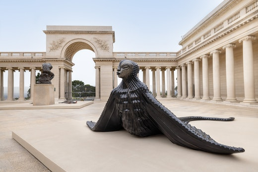 Installation view from Wangechi Mutu: I Am Speaking, Are You Listening?, Legion of Honor, San Francisco, 2021.