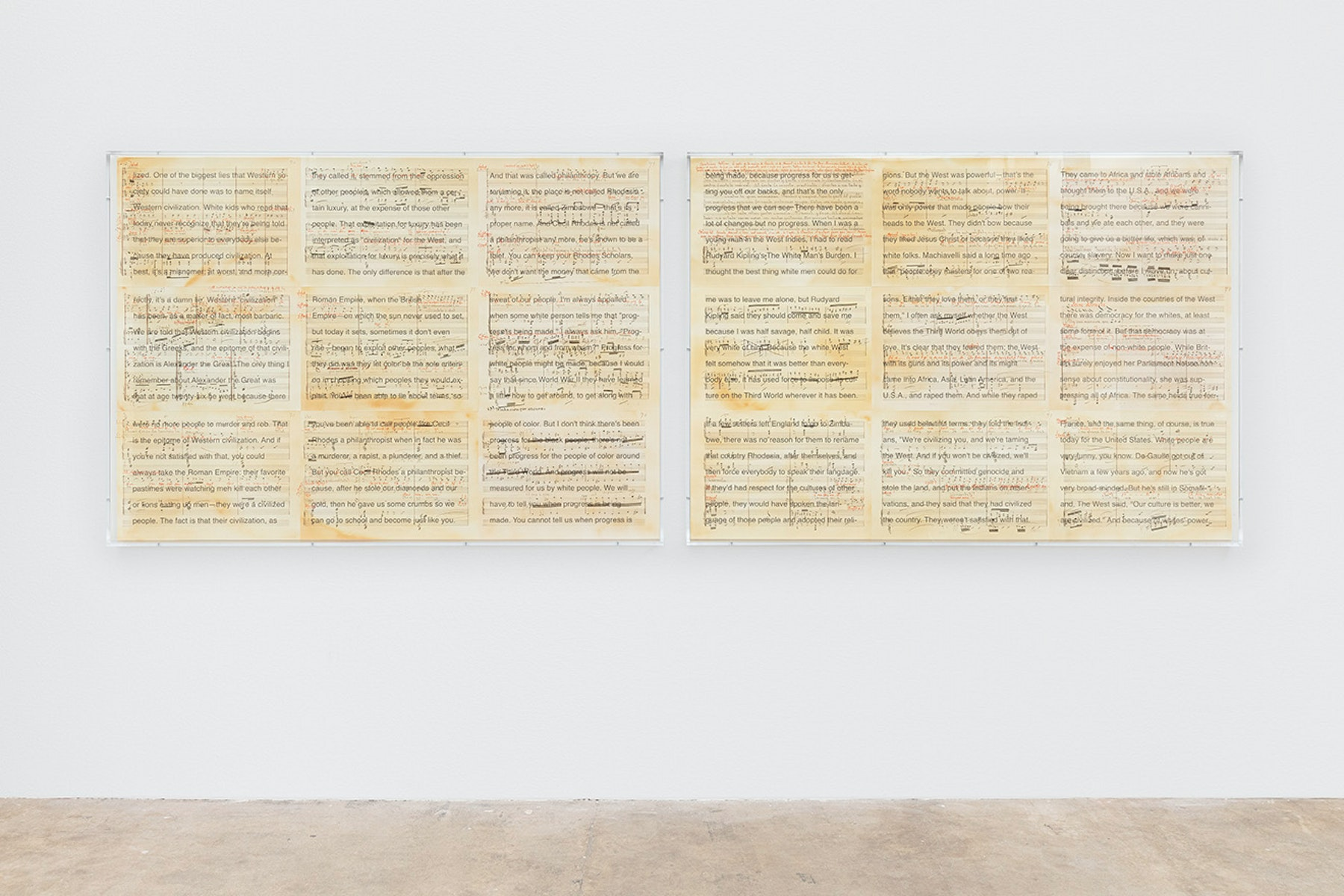 """Charles Gaines """"Librettos: Manuel de Falla/Stokely Carmichael, Set 23,"""" 2020 Printed ink, stained paper, UV print on acrylic, 2 parts 51 ¹⁄₂"""" x 72 ¹⁄₂"""" x 3"""" [HxWxD] (130.81 x 184.15 x 7.62 cm) each, 51 ¹⁄₂"""" x 12' 4"""" x 3"""" [HxWxD] (130.81 x 375.92 x 7.62 cm) overall Inventory #GAI469 Photo: Evan Bedford Courtesy of the artist and Hauser & Wirth"""