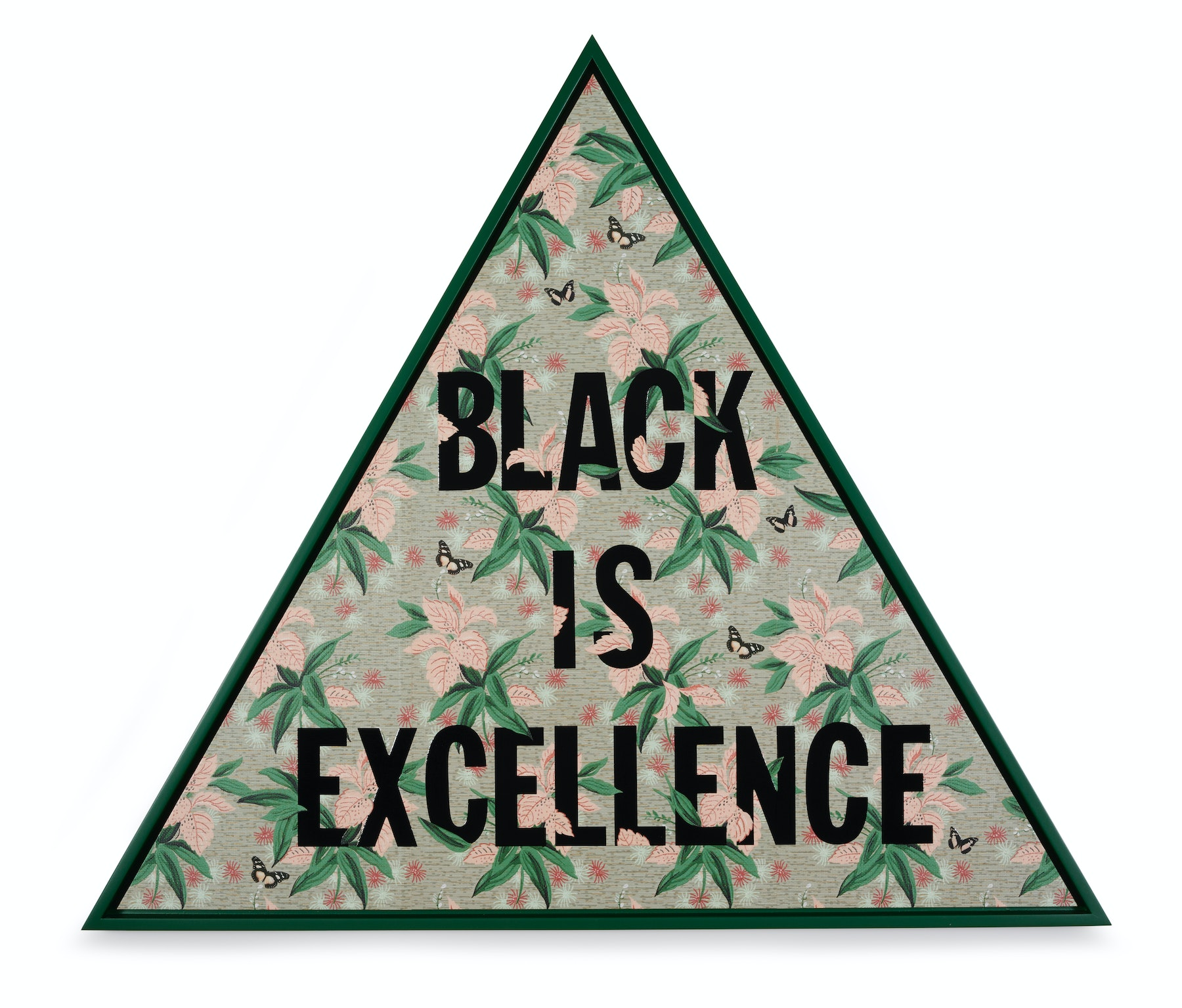 """Genevieve Gaignard """"Black Is Excellence (Thrive),"""" 2021 Mixed media on panel 41 ¹⁄₂"""" x 48"""" [HxW] (105.41 x 121.92 cm) Inventory #GEN342 Courtesy of the artist and Vielmetter Los Angeles Photo credit: Thomas Clark"""