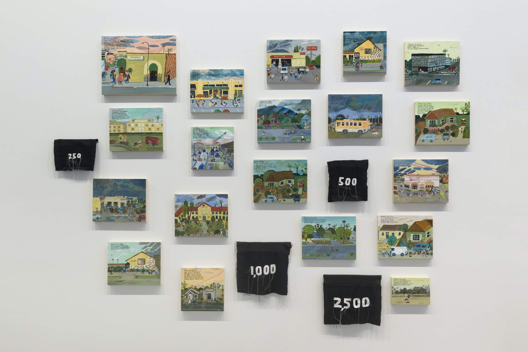 """Esther Pearl Watson """"March Set,"""" 2020 Acrylic with pencil on panel Dimensions variable Inventory #EPW364 Courtesy of the artist and Vielmetter Los Angeles Photo credit: Jeff Mclane"""