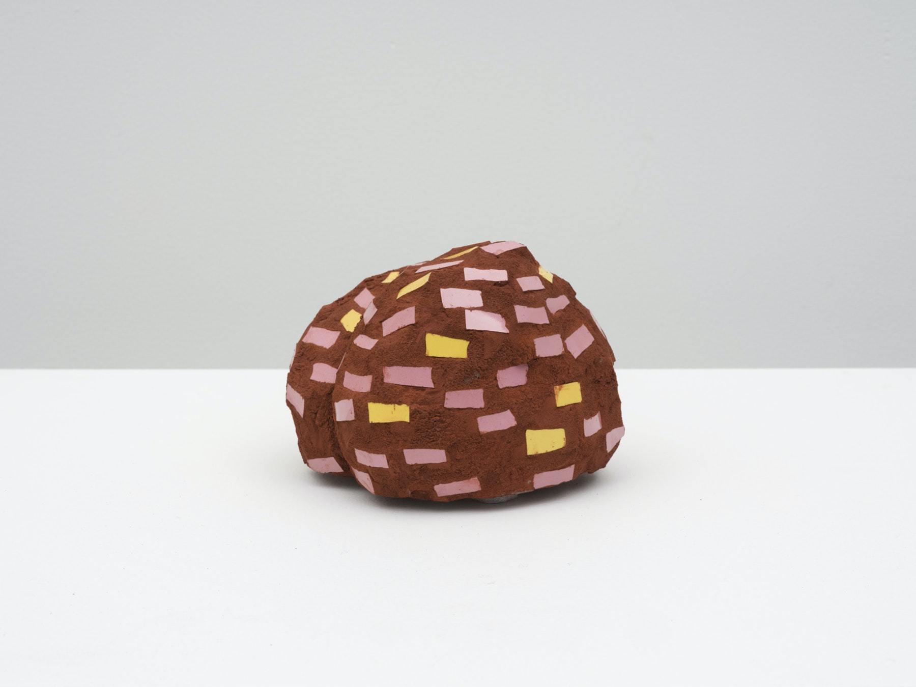 "Akina Cox ""Niki (Brown, Pink, Yellow),"" 2020 Glass, clay, grout, cement 4.5 x 5 x 5.25"" [HxWxD] (11.43 x 12.7 x 13.34 cm) Inventory #WS1048 Photo credit: Jeff Mclane"