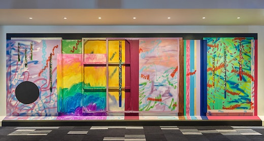 """Sarah Cain Site-specific installation """"Mountain Song"""" at Elk Camp on Snowmass Mountain in collaboration with the Aspen Art Museum, Aspen, CO (November 25, 2017–September 30, 2018) Installation view"""