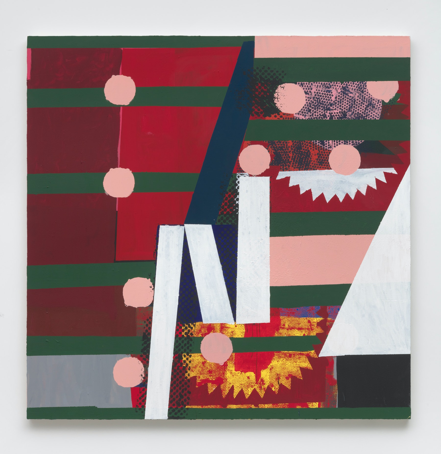 """Nick Aguayo """"pizzicato,"""" 2019 Acrylic and marble dust on canvas 86"""" x 86"""" x 2"""" [HxWxD] (218.44 x 218.44 x 5.08 cm) Inventory #AGU192 Courtesy of the artist and Vielmetter Los Angeles Photo credit: Robert Wedemeyer"""