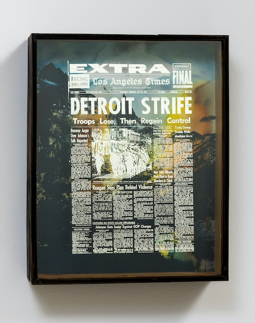 """Edgar Arceneaux """"Peaks Above The Headlines, (Detroit II),"""" 2017 Watercolor and enamel on paper, wood and mirrored glass. 20.75 x 16.5 x 4.75"""" [HxWxD] (52.71 x 41.91 x 12.07 cm) Inventory #ARC535 Courtesy of the artist and Vielmetter Los Angeles Photo credit: Robert Wedemeyer Signed and dated on reverse"""