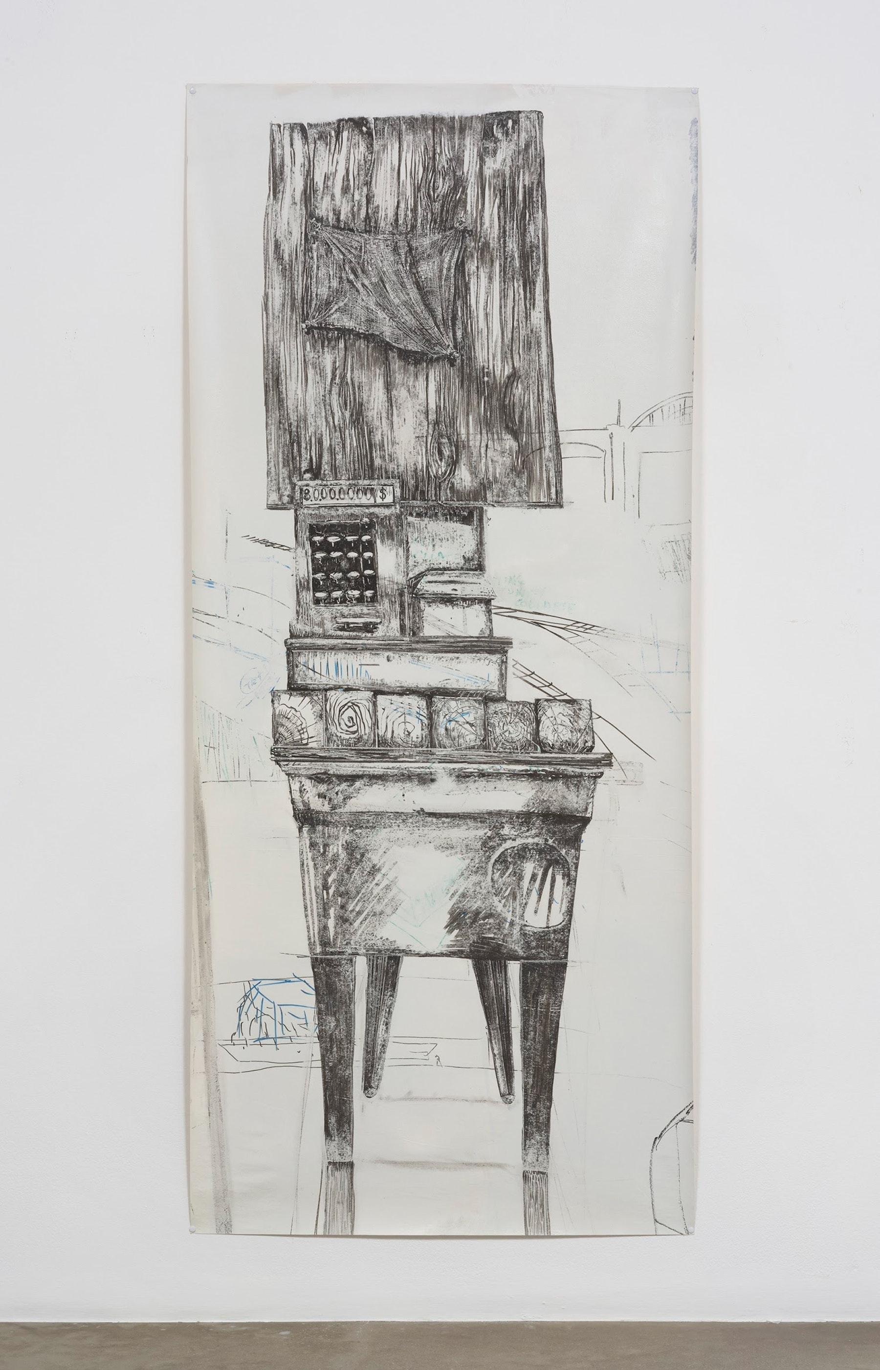 "Edgar Arceneaux ""Migrant's Totem I,"" 2017 Dry erase pen on muslin 79"" x 35"" [HxW] (200.66 x 88.9 cm) Inventory #ARC566 Courtesy of the artist and Vielmetter Los Angeles Photo credit: Jeff McLane"
