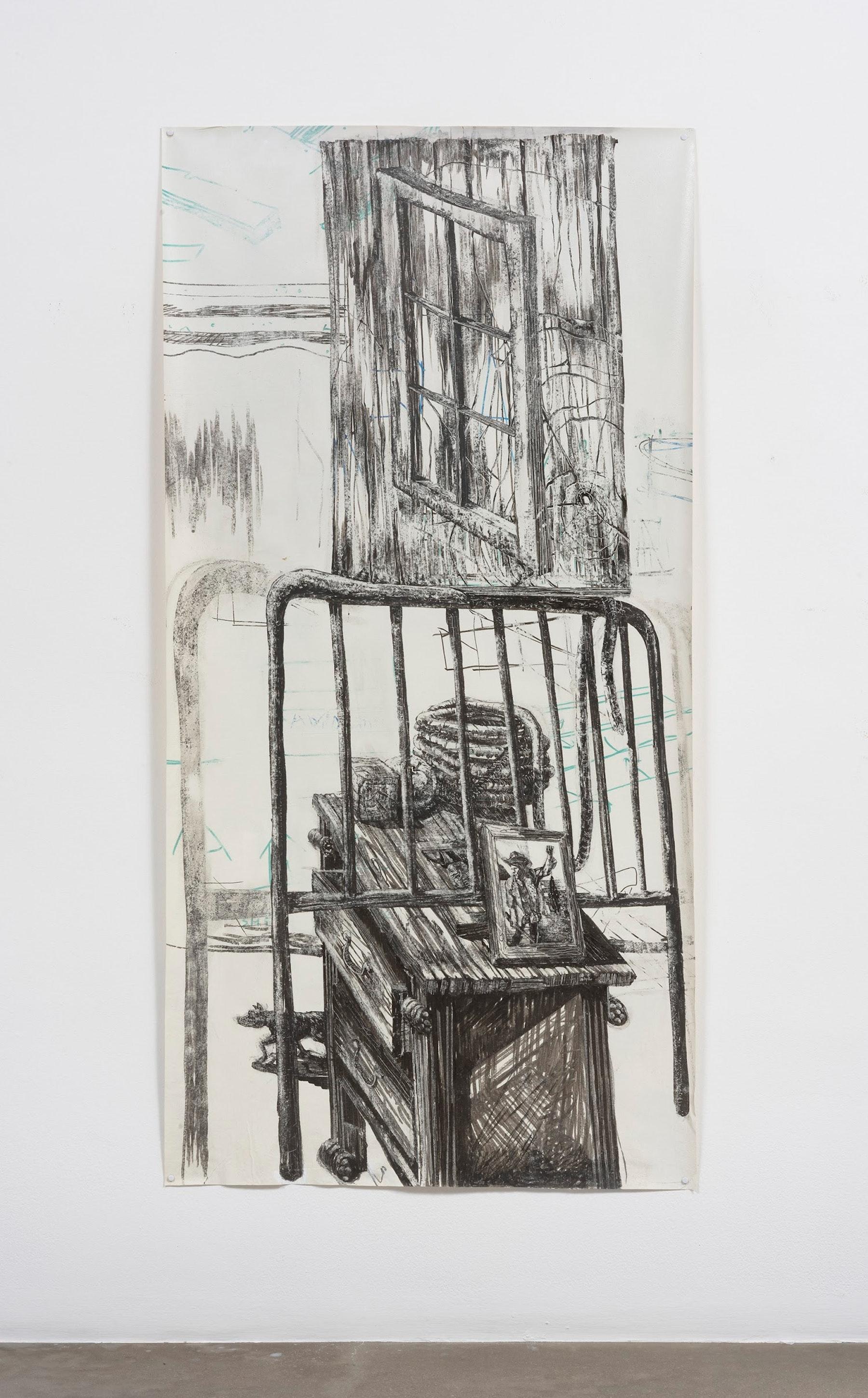 "Edgar Arceneaux ""Migrant's Totem II,"" 2017 Dry erase pen on muslin 69"" x 35"" [HxW] (175.26 x 88.9 cm) Inventory #ARC568 Courtesy of the artist and Vielmetter Los Angeles Photo credit: Jeff McLane"