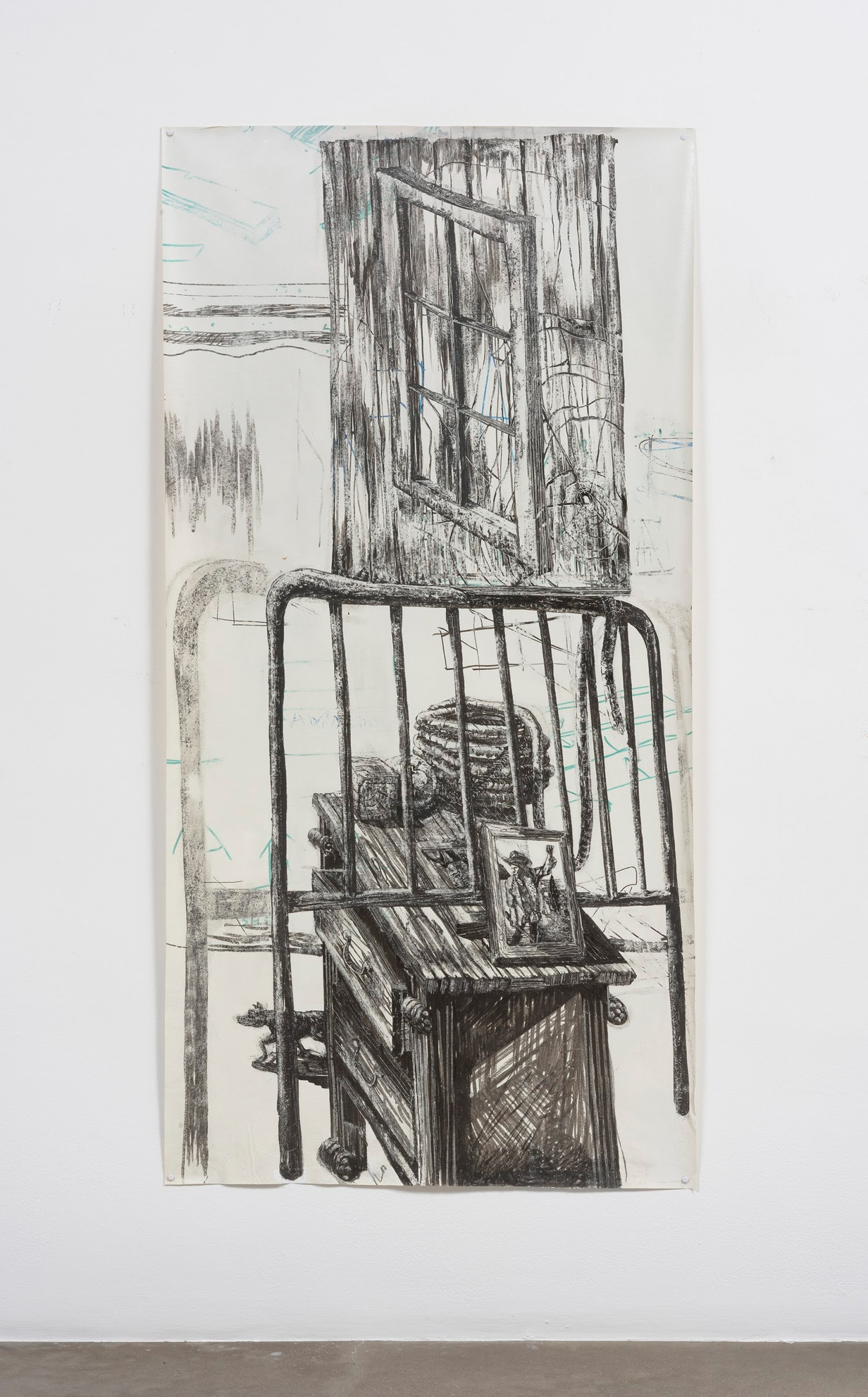 "Edgar Arceneaux ""Migrant's Totem II,"" 2017 Dry erase pen on muslin 69 x 35"" [HxW] (175.26 x 88.9 cm) Inventory #ARC568 Courtesy of the artist and Vielmetter Los Angeles Photo credit: Robert Wedemeyer"