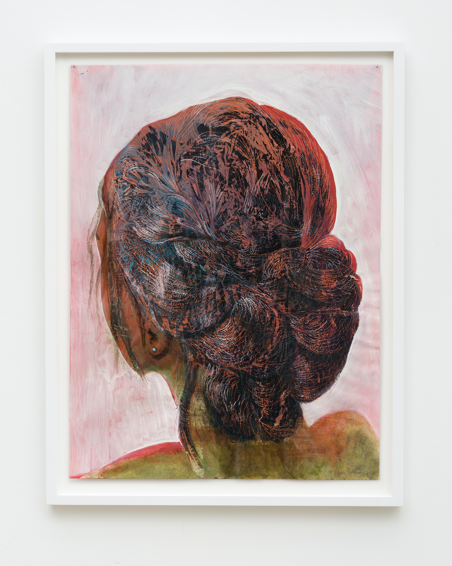 """Edgar Arceneaux """"There Sister,"""" 2020 Oil and acrylic on paper 24 x 18"""" [HxW] (60.96 x 45.72 cm) Inventory #ARC621 Courtesy of the artist and Vielmetter Los Angeles"""