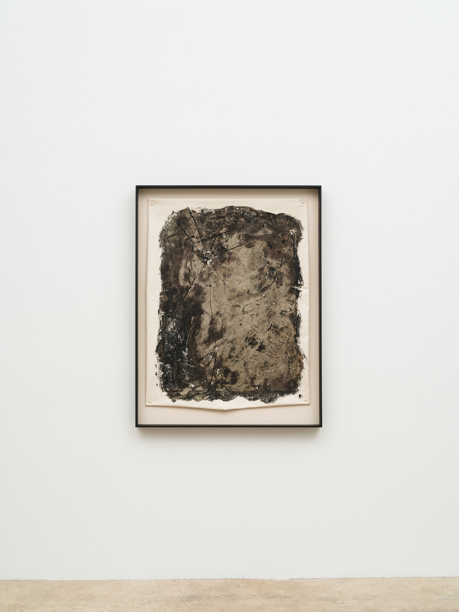 """Edgar Arceneaux """"Skinning the Mirror #5,"""" 2021 Silver nitrate, acrylic paint, and glass on canvas 48 ³⁄₄"""" x 37 ¹⁄₂"""" x 2 ³⁄₄"""" [HxWxD] (123.82 x 95.25 x 6.98 cm) framed; 40"""" x 33"""" [HxW] (101.6 x 83.82 cm) unframed Inventory #ARC641 Courtesy of the artist and Vielmetter Los Angeles Photo credit: Jeff McLane / Xiaoyue Zhang"""
