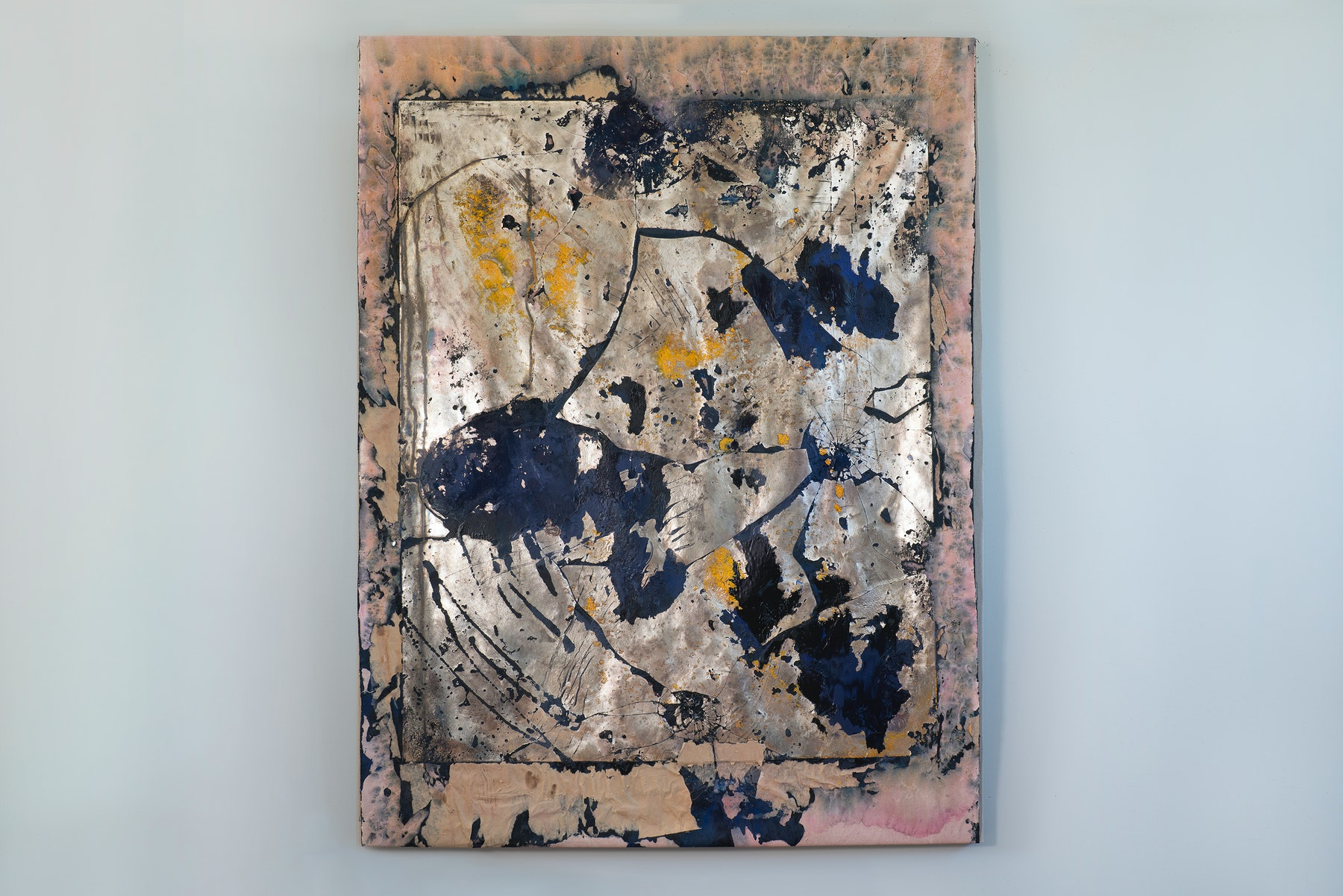 """Edgar Arceneaux """"Skinning the Mirror #12,"""" 2021 Silver nitrate, acrylic paint, paper, and glass on canvas 73 ³⁄₄"""" x 56 ¹⁄₄"""" x 2"""" [HxWxD] (187.32 x 142.87 x 5.08 cm) Inventory #ARC644 Courtesy of the artist and Vielmetter Los Angeles Photo credit: Jeff McLane / Xiaoyue Zhang"""