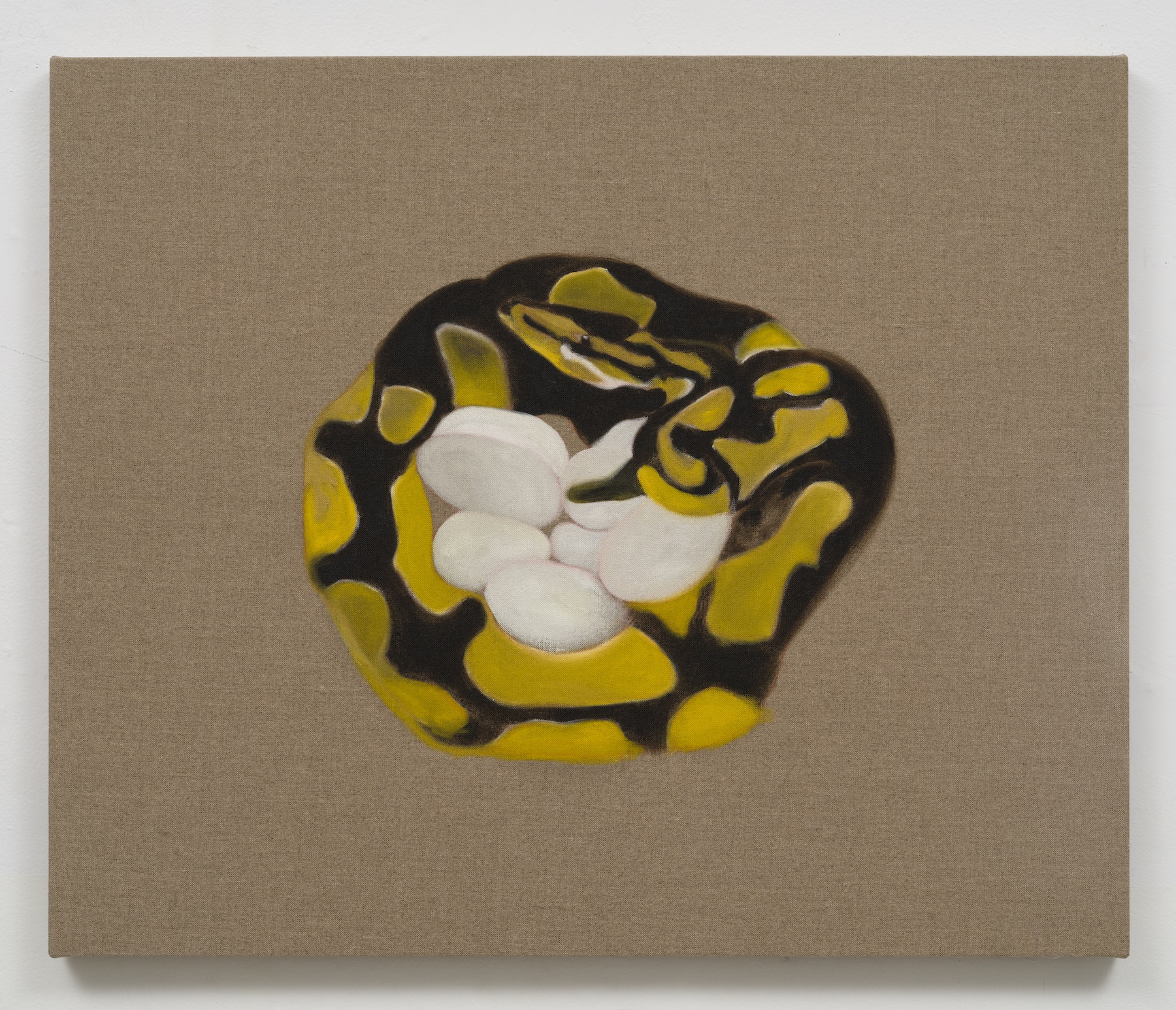 """Math Bass """"Eggs,"""" 2020 Oil on linen 30 x 36 x 1.25"""" [HxWxD] (76.2 x 91.44 x 3.18 cm) Inventory #BAS1034 Courtesy of the artist and Vielmetter Los Angeles Photo credit: Jeff Mclane"""
