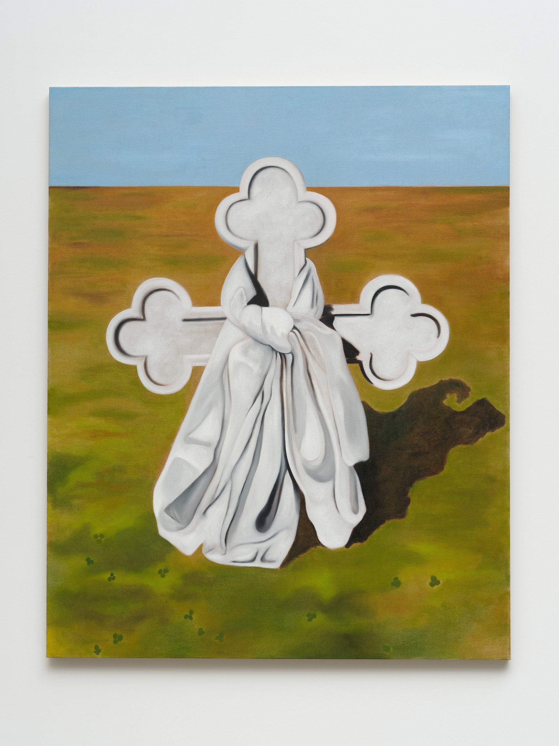 """Math Bass """"Thomas Merton's grave,"""" 2021 Oil on linen 52 x 42 x 1.25"""" [HxWxD] (132.08 x 106.68 x 3.18 cm) Inventory #BAS1036 Courtesy of the artist and Vielmetter Los Angeles Photo credit: Jeff Mclane Collection of Minneapolis Institute of Art; Minneapolis, MN, USA"""