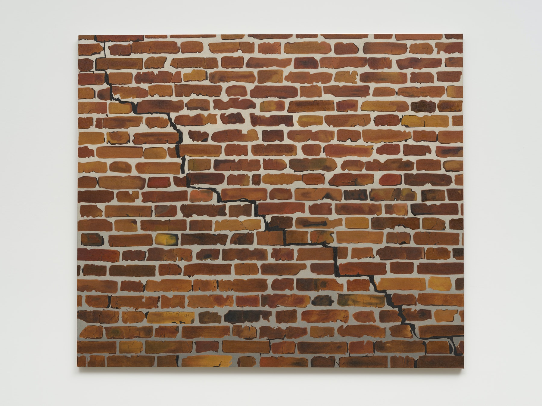 """Math Bass """"Brick wall,"""" 2021 Oil on linen 52 x 60 x 1.25"""" [HxWxD] (132.08 x 152.4 x 3.18 cm) Inventory #BAS1037 Courtesy of the artist and Vielmetter Los Angeles Photo credit: Jeff Mclane"""