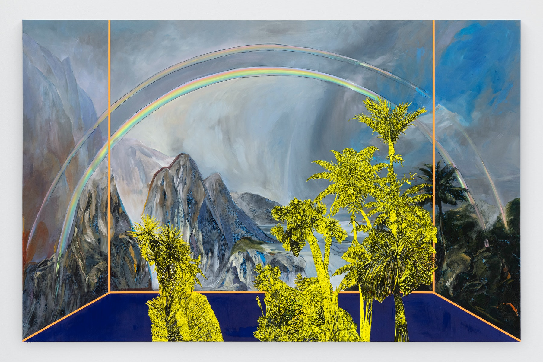 """Whitney Bedford """"Veduta (Church/ Rainbow),"""" 2020 Ink and oil on linen on hybrid panel 66 x 102 x 2"""" [HxWxD] (167.64 x 259.08 x 5.08 cm) Inventory #BED369 Courtesy of the artist and Vielmetter Los Angeles Photo credit: Evan Bedford"""