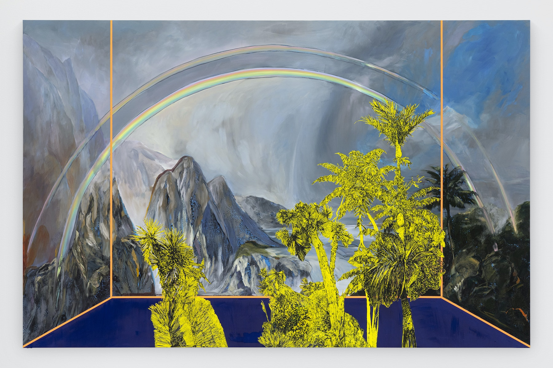 "Whitney Bedford ""Veduta (Church/ Rainbow),"" 2020 Ink and oil on linen on hybrid panel 66 x 102 x 2"" [HxWxD] (167.64 x 259.08 x 5.08 cm) Inventory #BED369 Courtesy of the artist and Vielmetter Los Angeles Photo credit: Evan Bedford"