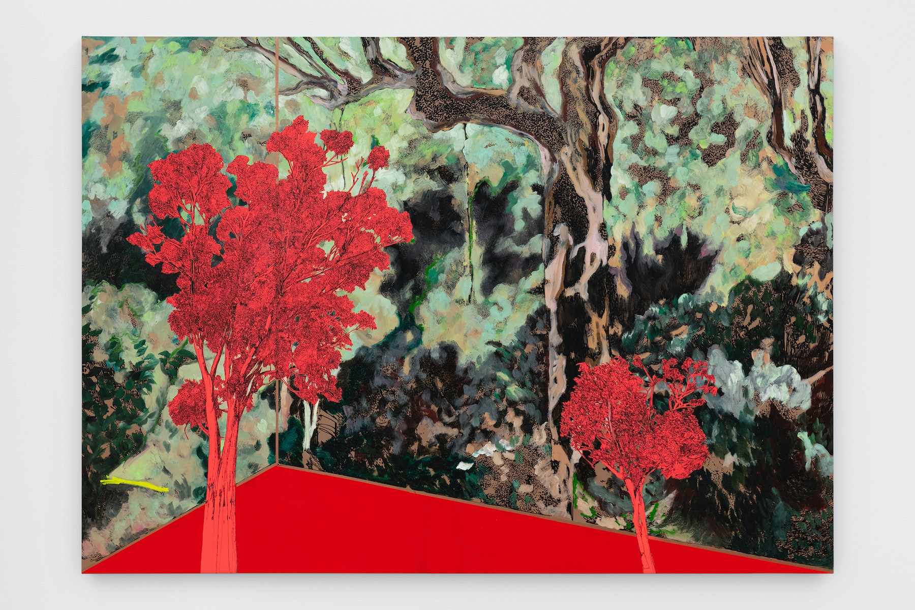 """Whitney Bedford """"Veduta (Vuillard),"""" 2020 Ink and oil on linen on hybrid panel 60 x 84"""" [HxW] (152.4 x 213.36 cm) Inventory #BED370 Courtesy of the artist and Vielmetter Los Angeles Photo credit: Evan Bedford"""