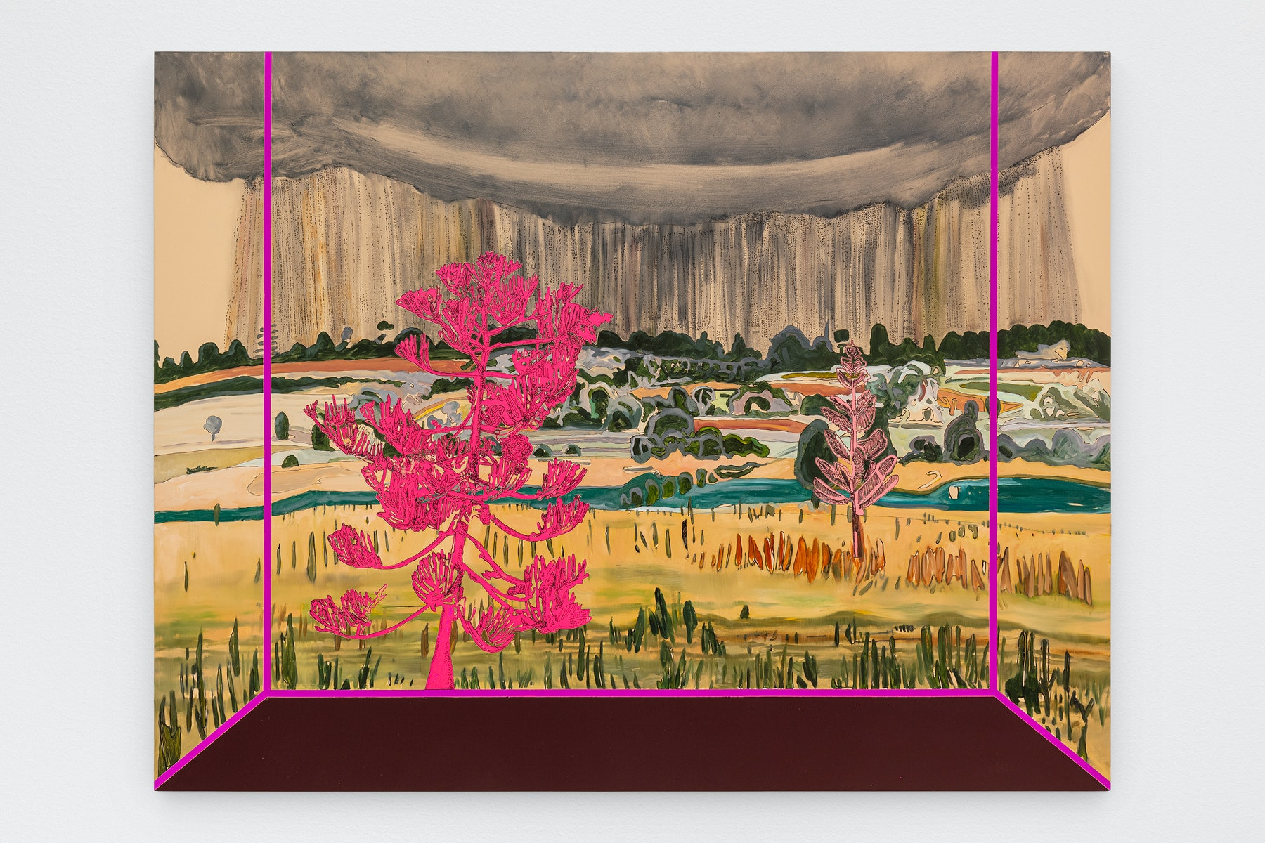 """Whitney Bedford """"Veduta (Burchfield Rain),"""" 2021 Ink and oil on linen on hybrid panel 33 ¹⁄₂"""" x 47"""" x 2"""" [HxWxD] (85.09 x 119.38 x 5.08 cm) Inventory #BED405 Courtesy of the artist and Vielmetter Los Angeles Photo credit: Evan Bedford"""