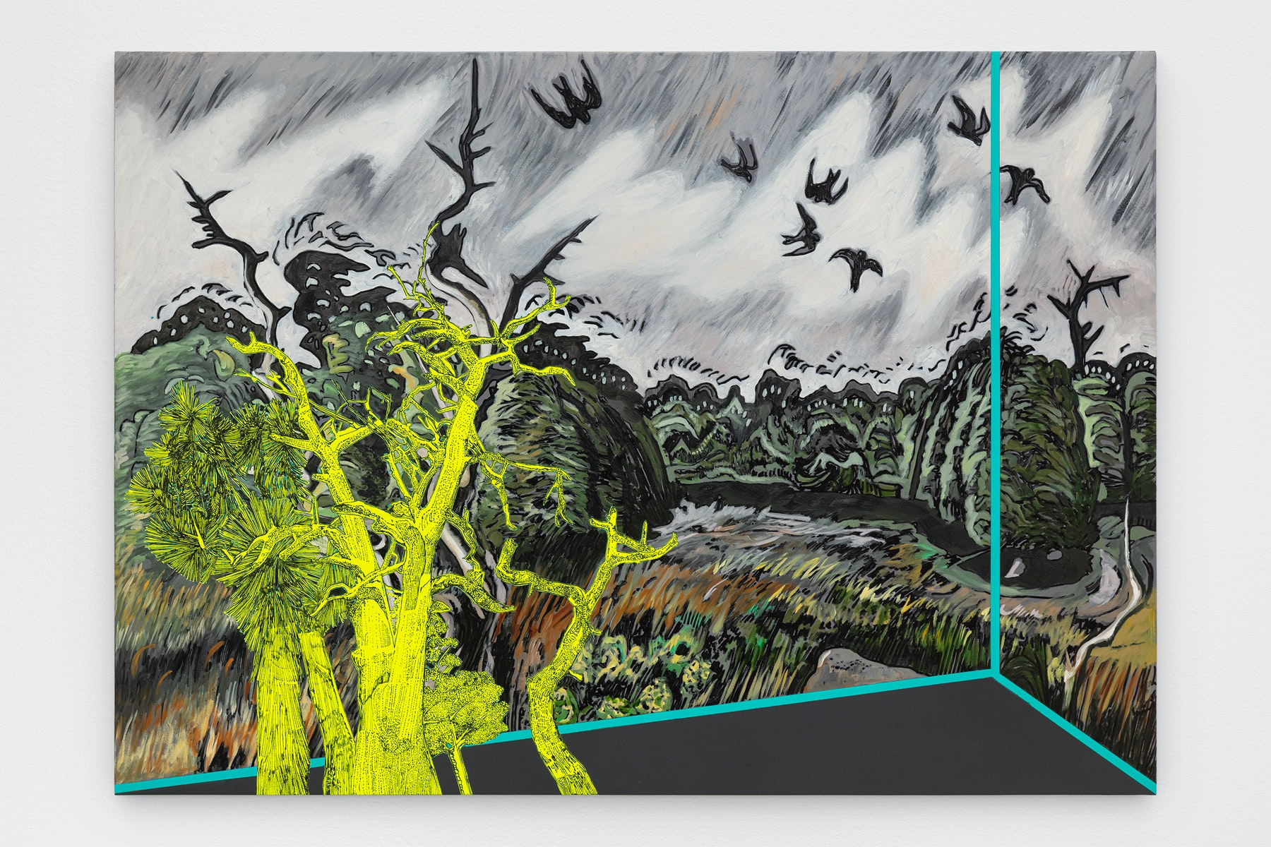 """Whitney Bedford """"Veduta (Burchfield Nighthawks),"""" 2021 Ink and oil on linen on hybrid panel 33 ¹⁄₂"""" x 47"""" x 2"""" [HxWxD] (85.09 x 119.38 x 5.08 cm) Inventory #BED406 Courtesy of the artist and Vielmetter Los Angeles Photo credit: Evan Bedford"""