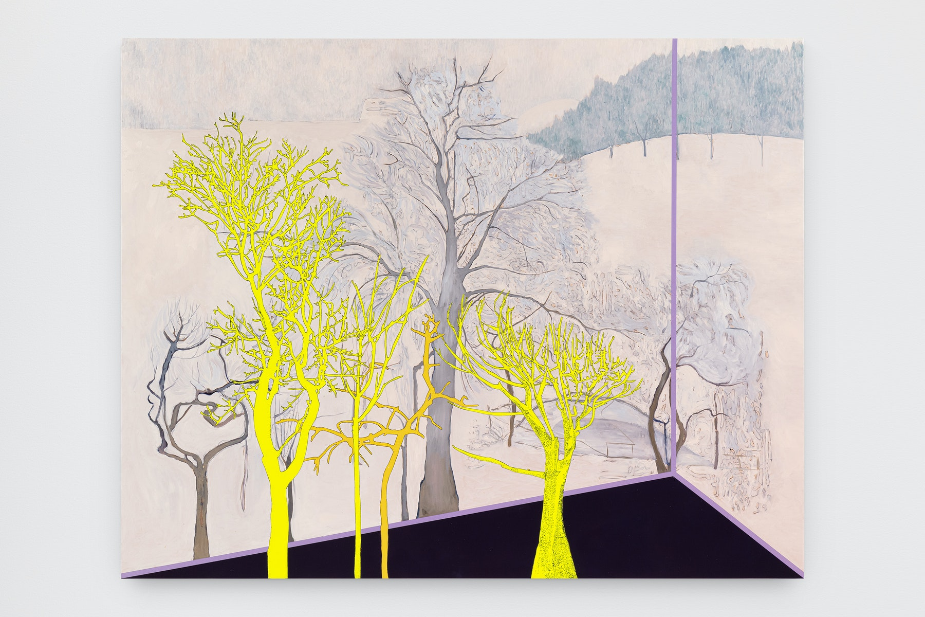 """Whitney Bedford """"Veduta (Amiet Winter),"""" 2021 Ink and oil on linen on hybrid panel 51"""" x 64 ¹⁄₂"""" [HxW] (129.54 x 163.83 cm) Inventory #BED412 Courtesy of the artist and Vielmetter Los Angeles Photo credit: Evan Bedford"""