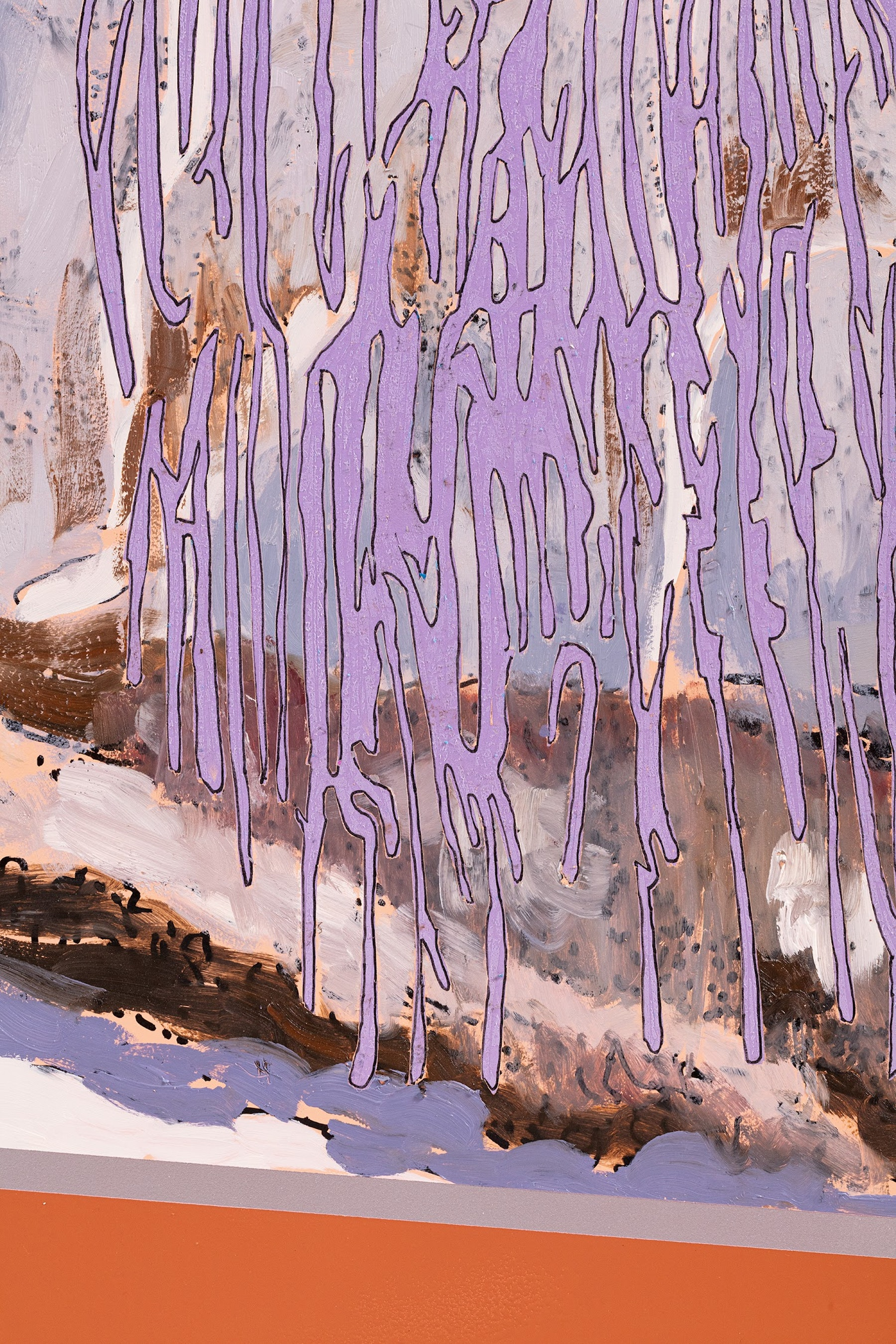 """Whitney Bedford """"Veduta (Vuillard Purple Trees),"""" 2021 Ink and oil on linen on hybrid panel 60"""" x 86"""" [HxW] (152.4 x 218.44 cm) Inventory #BED413 Courtesy of the artist and Vielmetter Los Angeles Photo credit: Evan Bedford"""