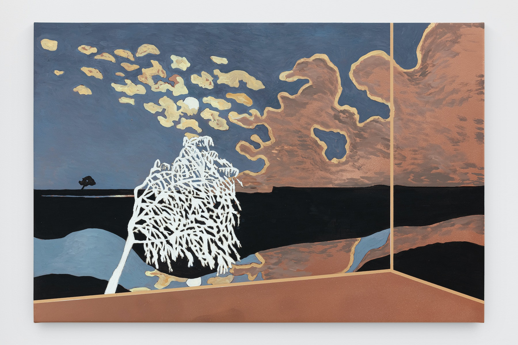 """Whitney Bedford """"Veduta (Vallotton Moonlight),"""" 2021 Ink and oil on linen on hybrid panel 24"""" x 36"""" x 2"""" [HxWxD] (60.96 x 91.44 x 5.08 cm) Inventory #BED415 Courtesy of the artist and Vielmetter Los Angeles Photo credit: Evan Bedford"""