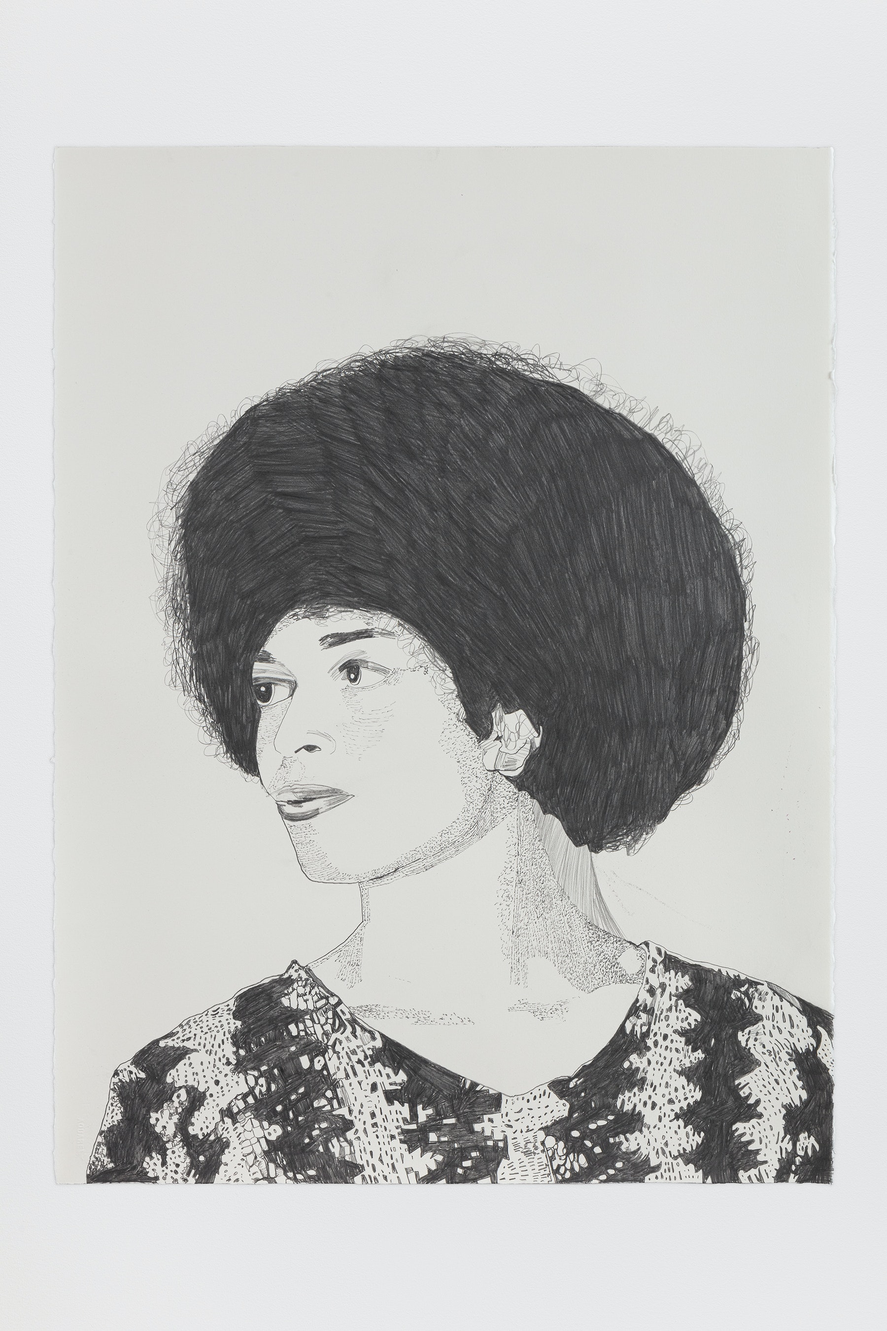 "Whitney Bedford ""Angela Davis,"" 2020 Graphite on Arches Paper 30 x 22"" [HxW] (76.2 x 55.88 cm) Inventory #BED377 Courtesy of the artist and Vielmetter Los Angeles Photo credit: Evan Bedford"