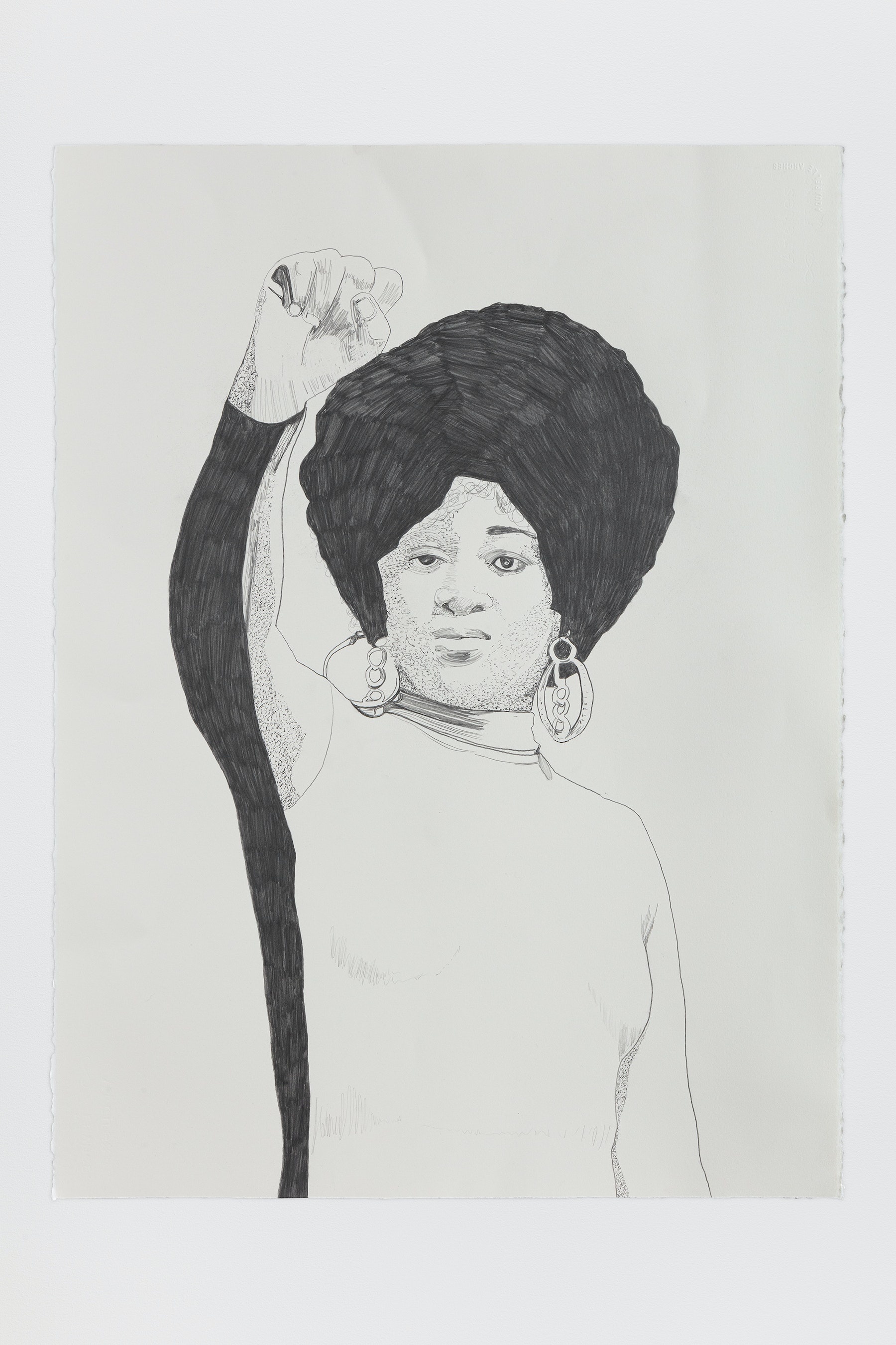 "Whitney Bedford ""Dorothy Pitman Hughes (Fist),"" 2020 Graphite on Arches Paper 30 x 22"" [HxW] (76.2 x 55.88 cm) Inventory #BED380 Courtesy of the artist and Vielmetter Los Angeles Photo credit: Evan Bedford"