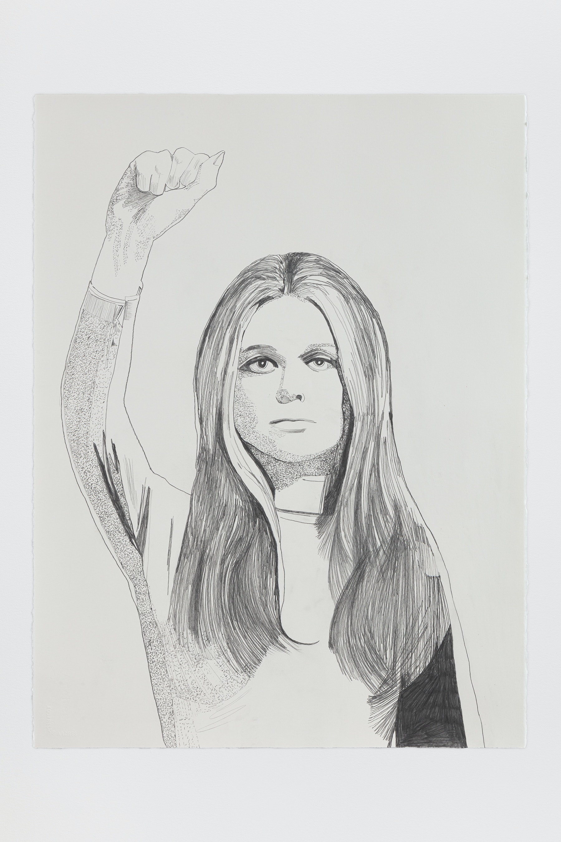 "Whitney Bedford ""Gloria Steinem (Fist),"" 2020 Graphite on Arches Paper 30 x 22"" [HxW] (76.2 x 55.88 cm) Inventory #BED382 Courtesy of the artist and Vielmetter Los Angeles Photo credit: Evan Bedford"
