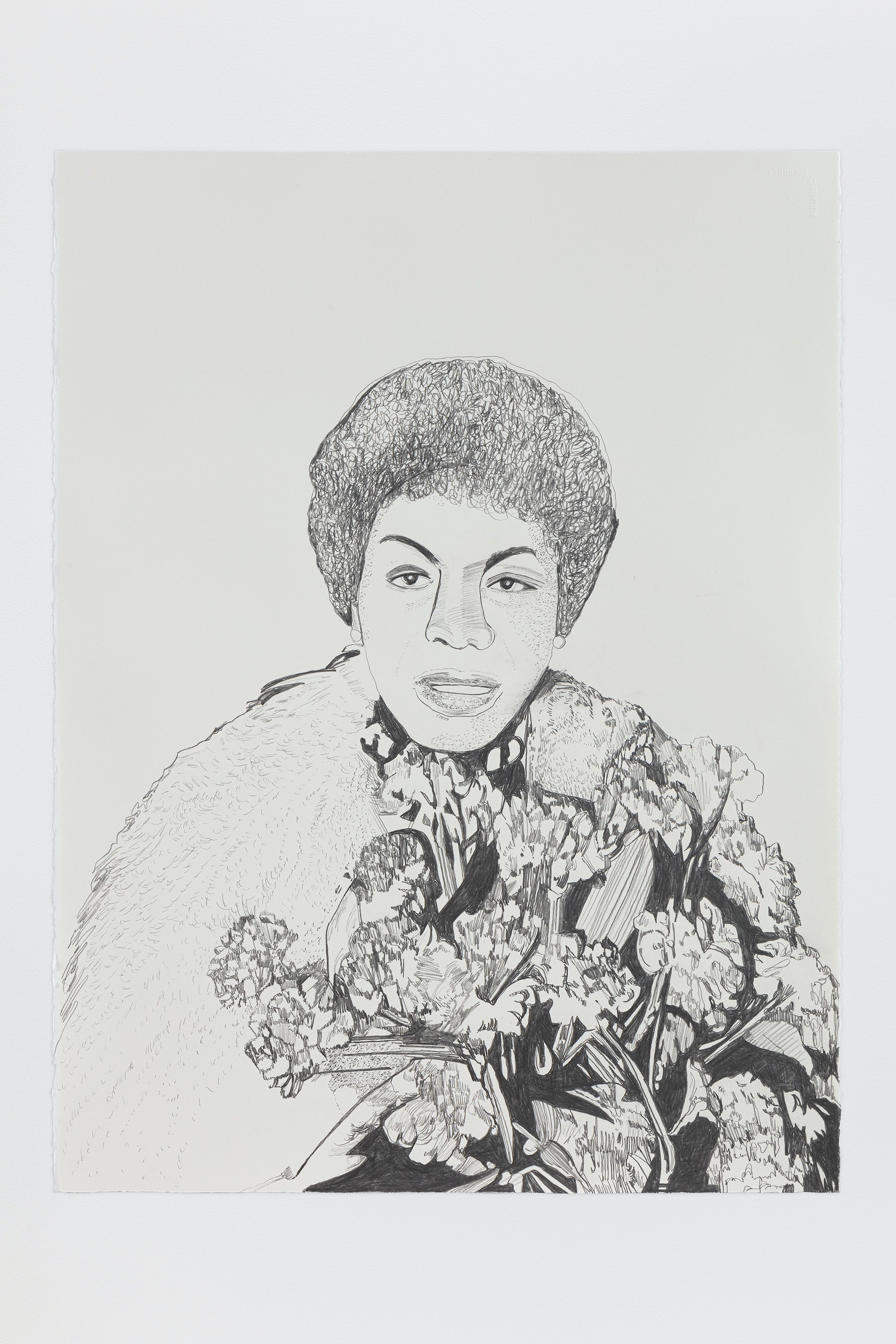 "Whitney Bedford ""Nina Simone,"" 2020 Graphite on Arches Paper 30 x 22"" [HxW] (76.2 x 55.88 cm) Inventory #BED387 Courtesy of the artist and Vielmetter Los Angeles Photo credit: Evan Bedford"