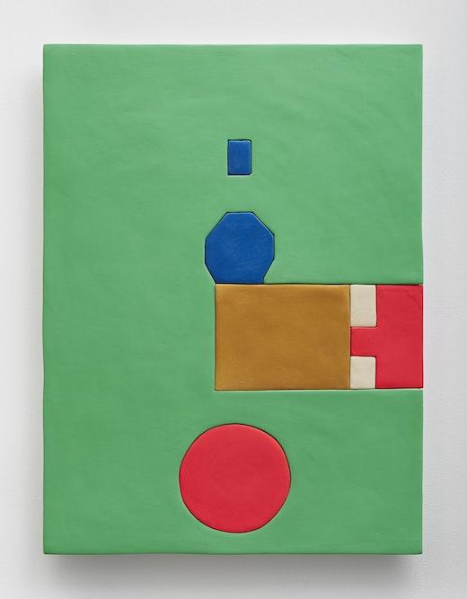 "Sadie Benning ""M1,"" 2015 Medite, acrylic, acqua resin, enamel and casein 40 x 30"" [HxW] (101.6 x 76.2 cm) Inventory #BEN282 Courtesy of the artist and Vielmetter Los Angeles"