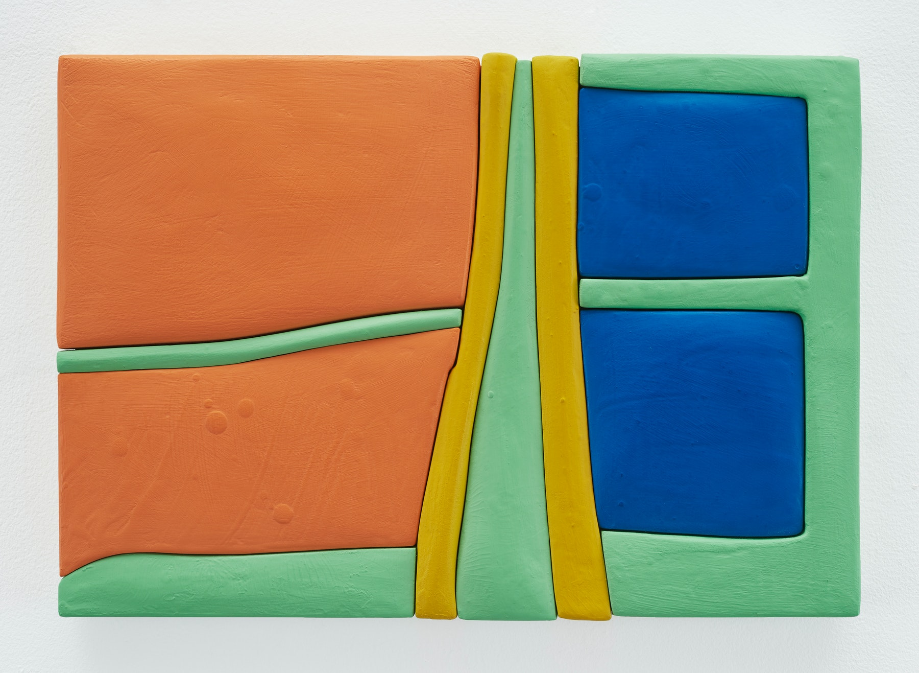 """Sadie Benning """"Untitled 11x16 (QQ),"""" 2019 Wood, aqua resin, casein, and acrylic gouache 11 x 16"""" [HxW] (27.94 x 40.64 cm) Inventory #BEN844 Courtesy of the artist and Vielmetter Los Angeles Photocredit: Chris Austin"""
