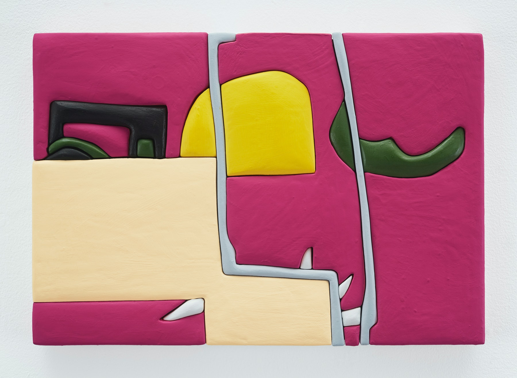 """Sadie Benning """"Untitled 11x16 (SS),"""" 2019 Wood, aqua resin, casein, and acrylic gouache 11 x 16"""" [HxW] (27.94 x 40.64 cm) Inventory #BEN846 Courtesy of the artist and Vielmetter Los Angeles Photocredit: Chris Austin"""