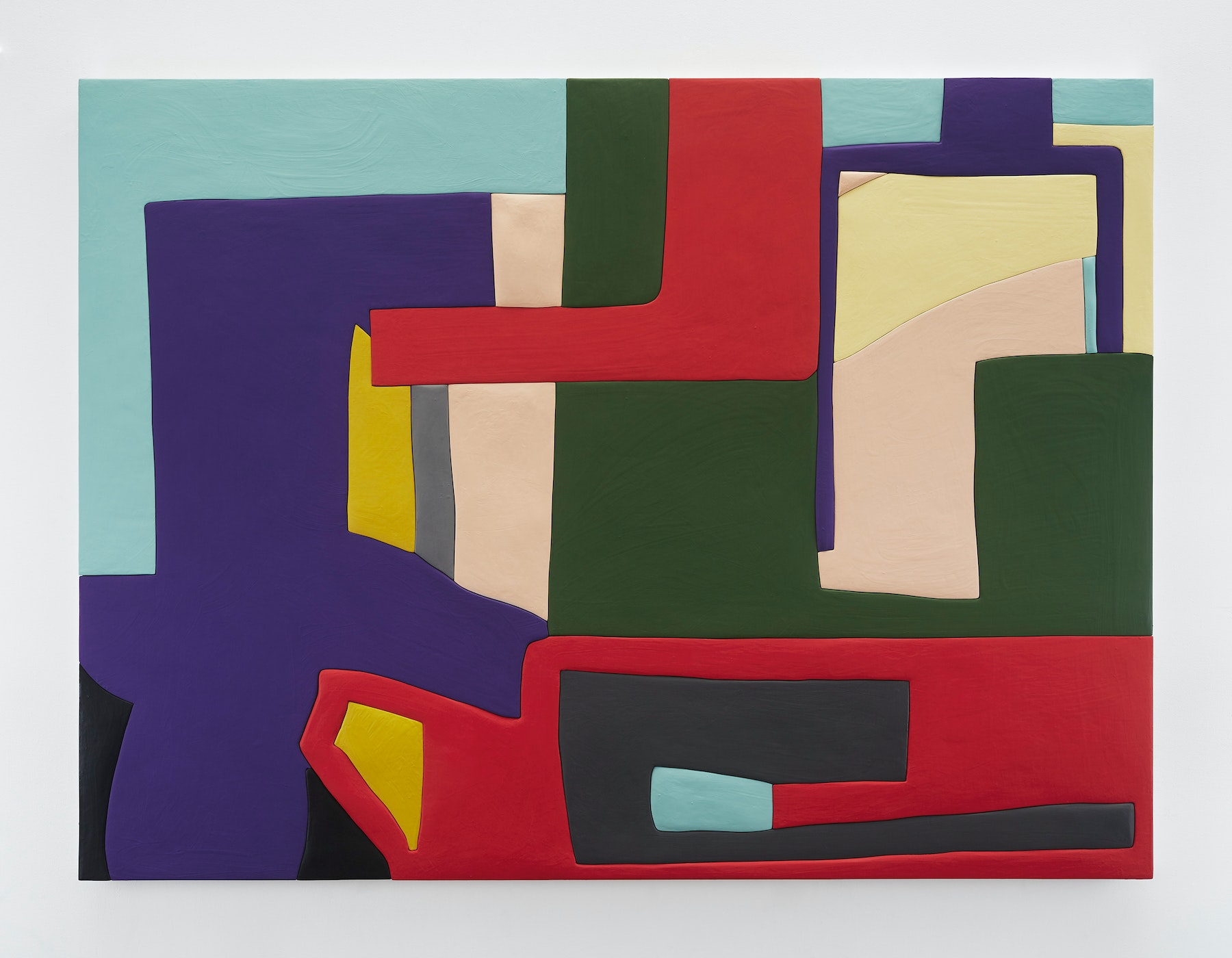 "Sadie Benning ""Untitled 1,"" 2019 Wood, aqua resin, casein, and acrylic gouache 53 x 71"" [HxW] (134.62 x 180.34 cm) Inventory #BEN855 Courtesy of the artist and Vielmetter Los Angeles Photocredit: Chris Austin"