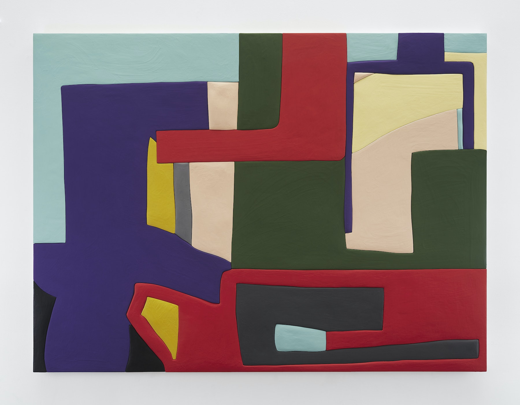 """Sadie Benning """"Untitled 1,"""" 2019 Wood, aqua resin, casein, and acrylic gouache 53 x 71"""" [HxW] (134.62 x 180.34 cm) Inventory #BEN855 Courtesy of the artist and Vielmetter Los Angeles Photocredit: Chris Austin"""