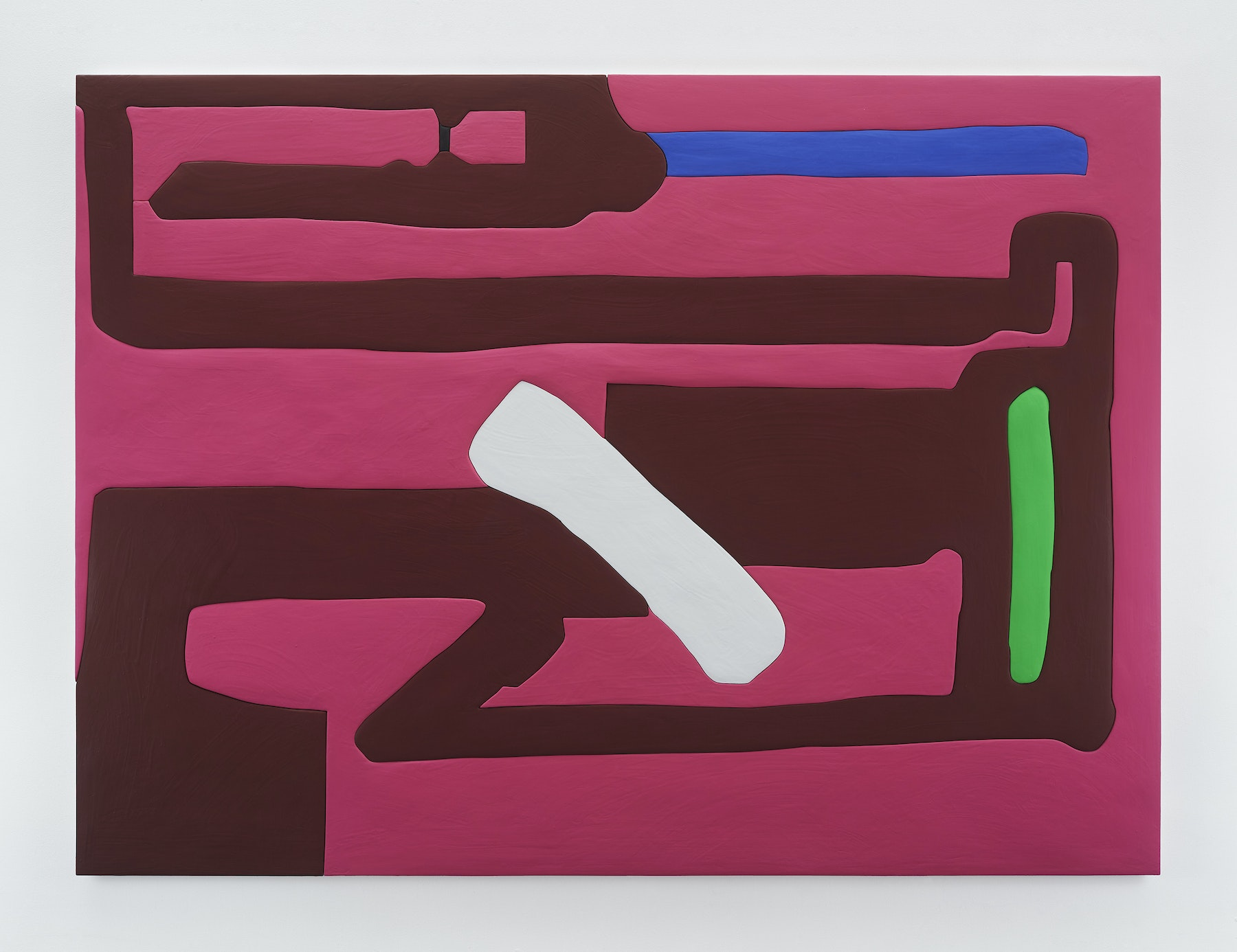 """Sadie Benning """"Untitled 4,"""" 2019 Wood, aqua resin, casein, and acrylic gouache 59 x 80"""" [HxW] (149.86 x 203.2 cm) Inventory #BEN858 Courtesy of the artist and Vielmetter Los Angeles Photocredit: Chris Austin"""