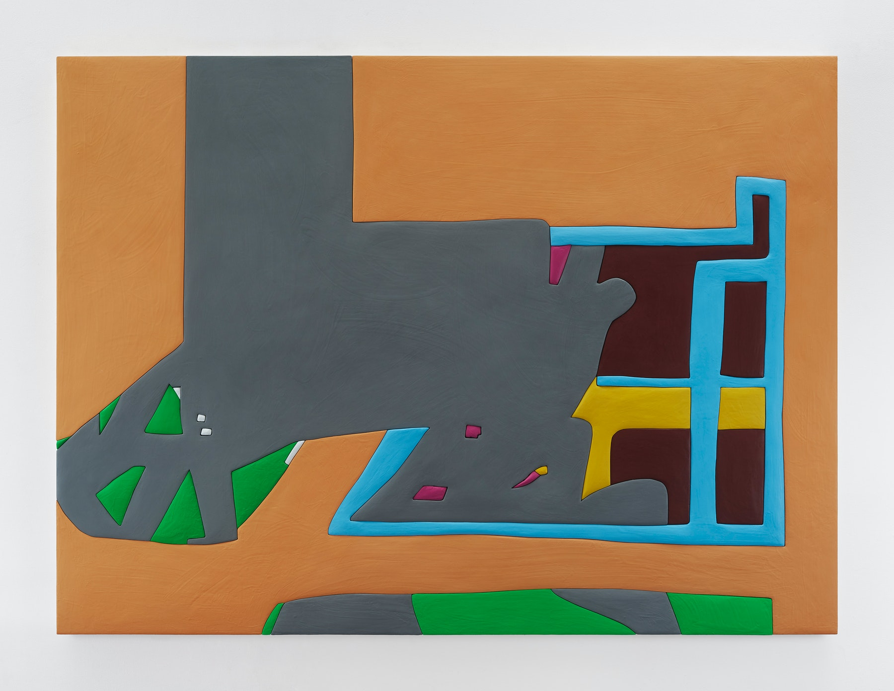 "Sadie Benning ""Untitled 5,"" 2019 Wood, aqua resin, casein, and acrylic gouache 59 x 80"" [HxW] (149.86 x 203.2 cm) Inventory #BEN859 Courtesy of the artist and Vielmetter Los Angeles Photocredit: Chris Austin"