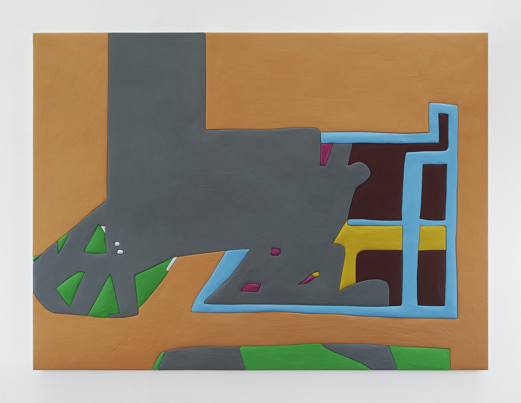 """Sadie Benning """"Untitled 5,"""" 2019 Wood, aqua resin, casein, and acrylic gouache 59 x 80"""" [HxW] (149.86 x 203.2 cm) Inventory #BEN859 Courtesy of the artist and Vielmetter Los Angeles Photocredit: Chris Austin"""