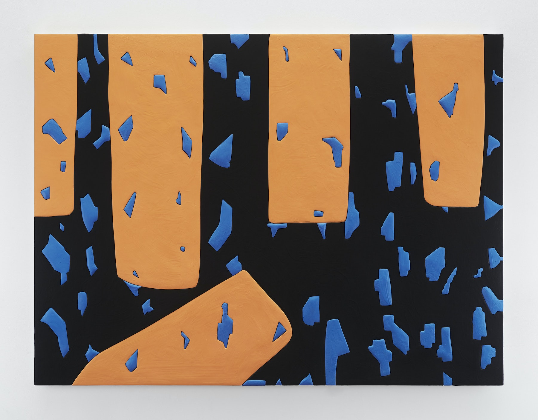 """Sadie Benning """"Untitled 8,"""" 2019 Wood, aqua resin, casein, and acrylic gouache 53 x 71"""" [HxW] (134.62 x 180.34 cm) Inventory #BEN862 Courtesy of the artist and Vielmetter Los Angeles Photocredit: Chris Austin"""