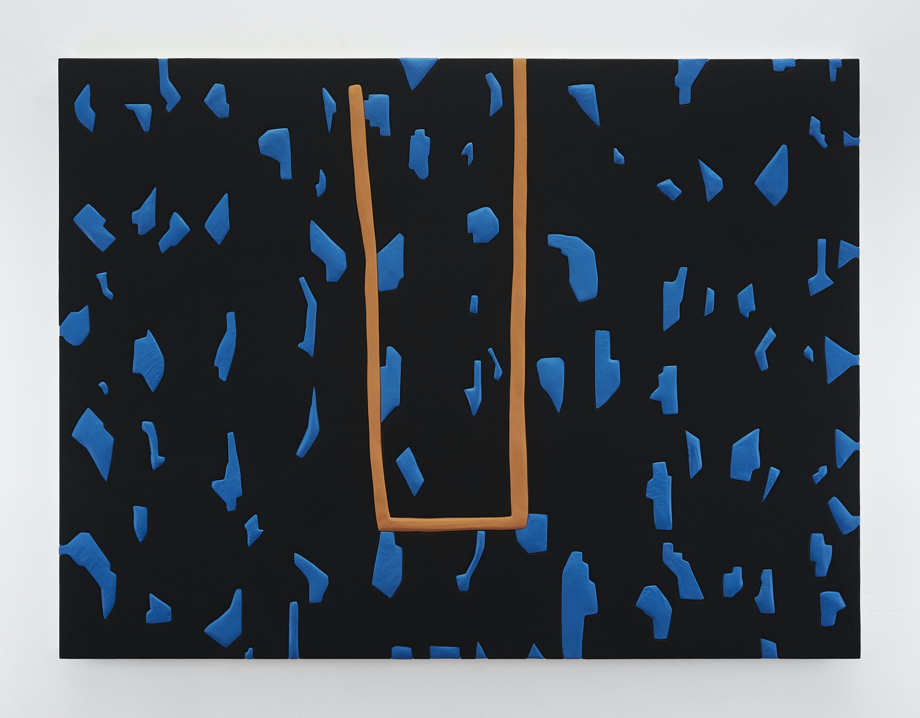 """Sadie Benning """"Untitled 9,"""" 2019 Wood, aqua resin, casein, and acrylic gouache 53 x 71"""" [HxW] (134.62 x 180.34 cm) Inventory #BEN863 Courtesy of the artist and Vielmetter Los Angeles Photocredit: Chris Austin"""
