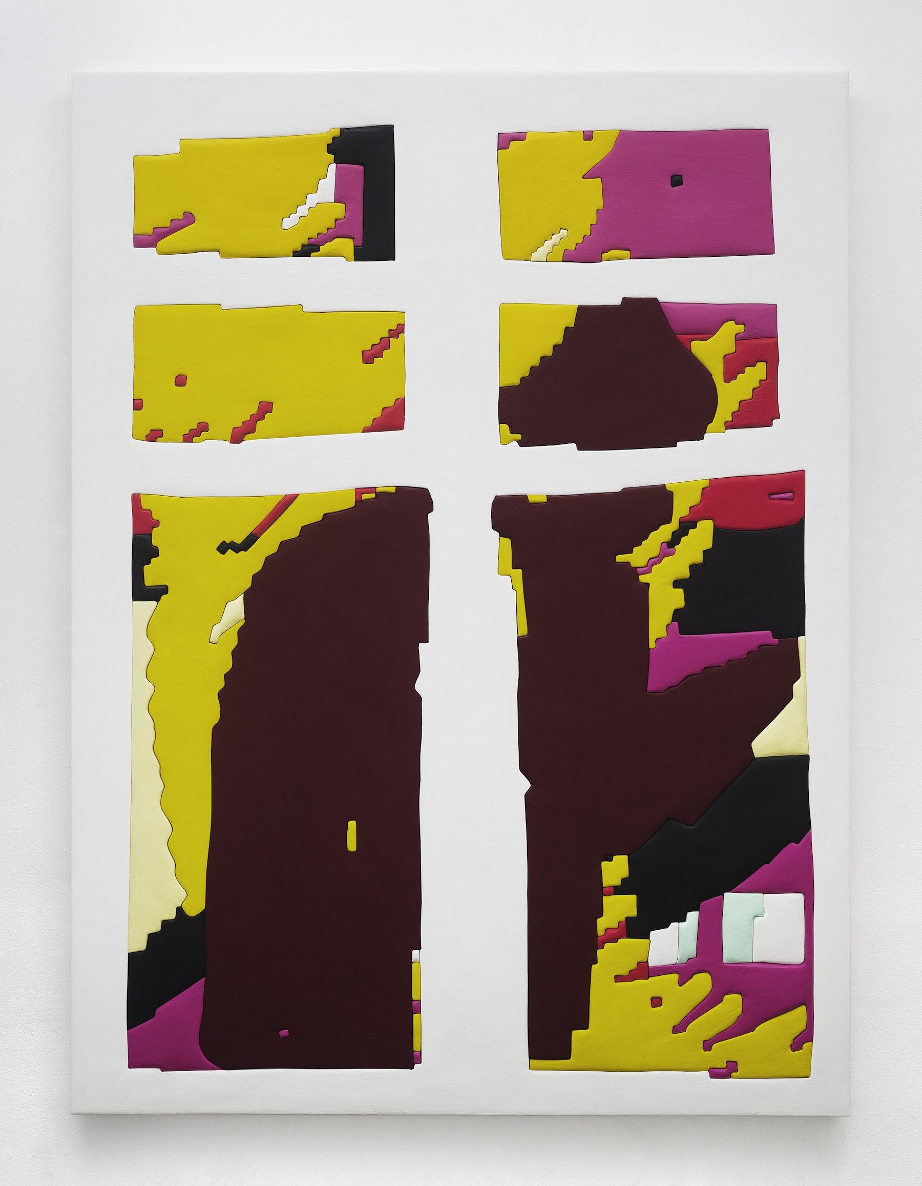 "Sadie Benning ""Window,"" 2019 Wood, aqua resin, casein, and acrylic gouache 71 x 53"" [HxW] (180.34 x 134.62 cm) Inventory #BEN868 Courtesy of the artist and Vielmetter Los Angeles Photo credit: Chris Austin"