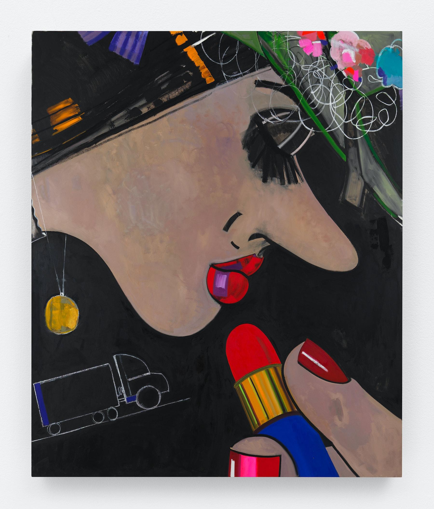 "Ellen Berkenblit ""Wildflower Hat,"" 2018 Oil and paintstick on linen 91 x 76"" [HxW] (231.14 x 193.04 cm) Inventory #BER187 Courtesy of the artist and Vielmetter Los Angeles Photo credit: Object Studies"